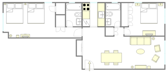 Apartment Theatre District - Interactive plan